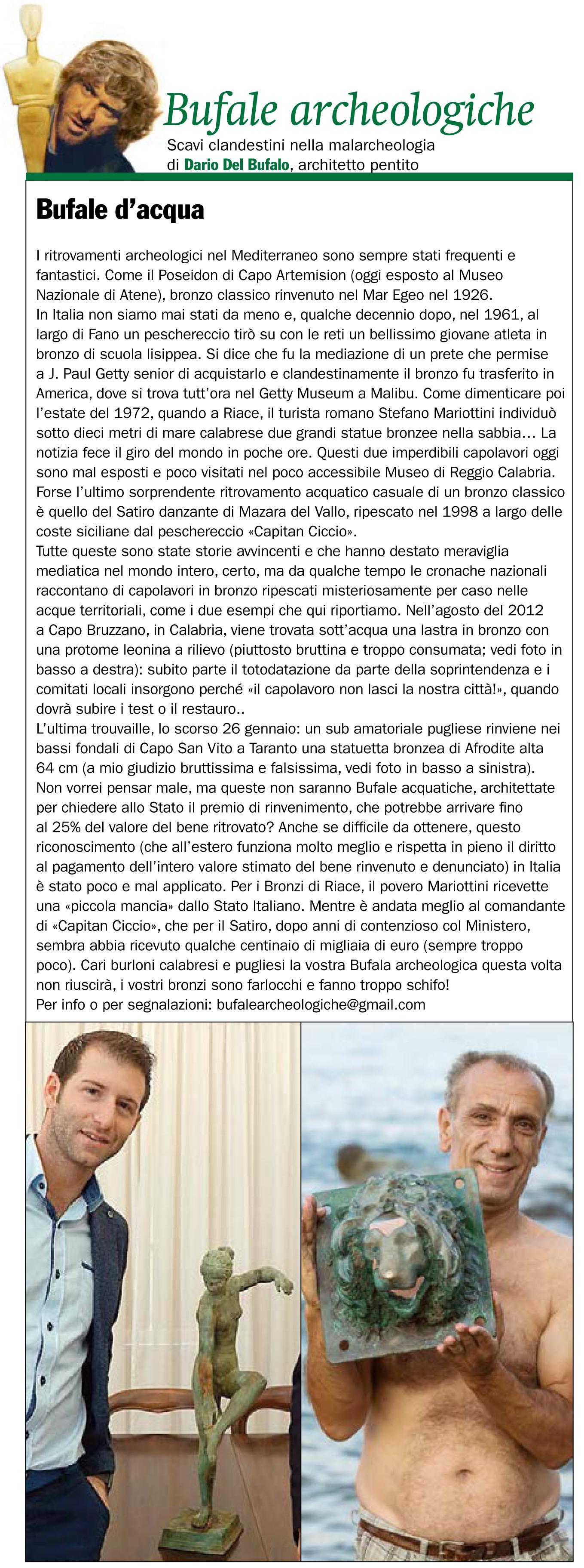 Bufale Archeologiche Giornale dell'Arte Marzo 2017 Dario Del Bufalo