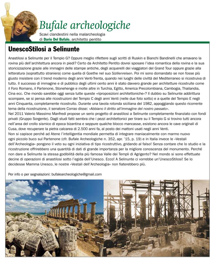 UnescoStilosi a Selinunte Giornale dell'Arte Dario Del Bufalo