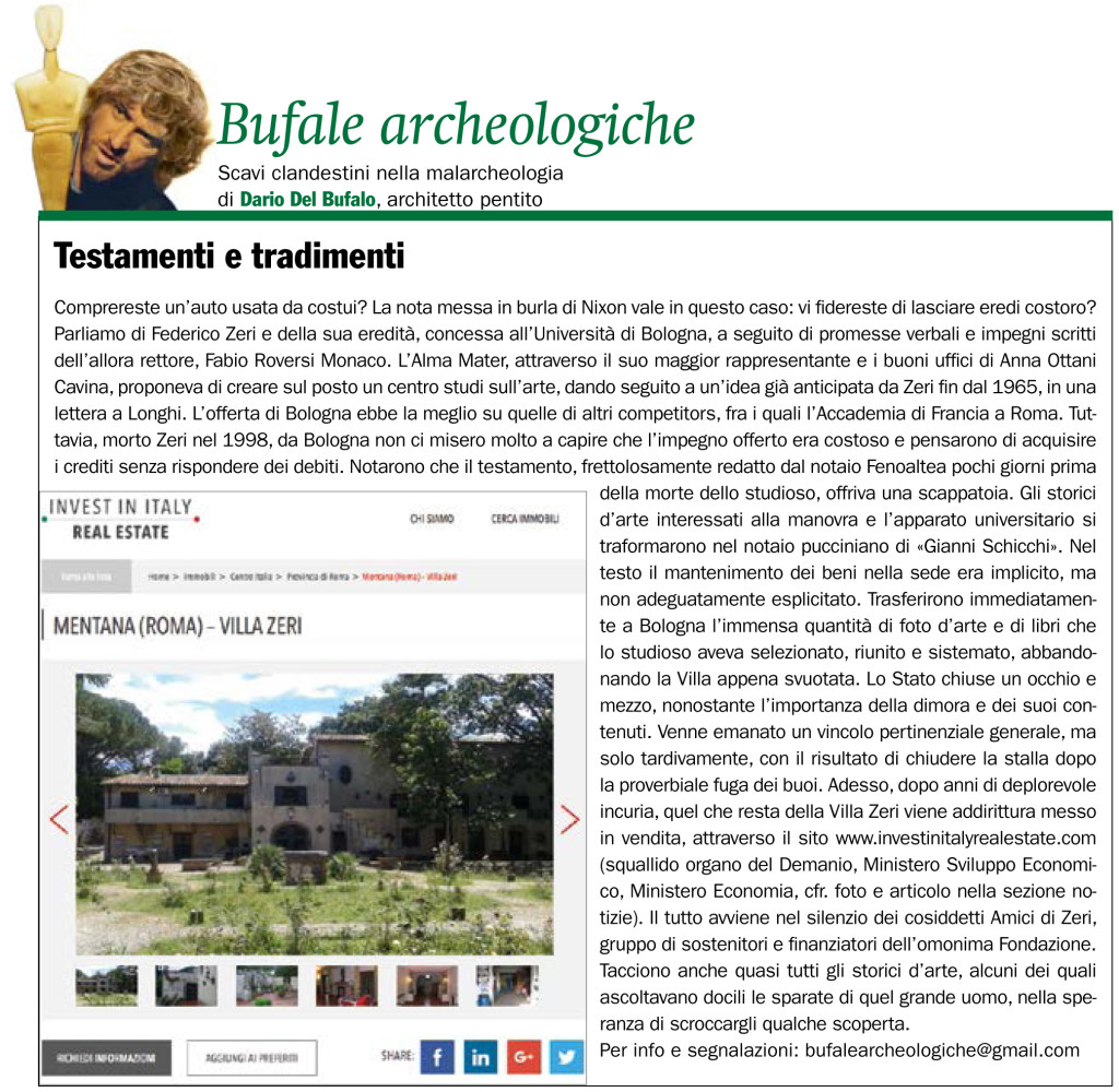 Testamenti e tradimenti Dario Del Bufalo Giornale dell'Arte