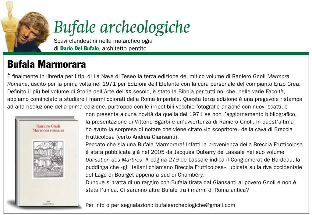 Bufala Marmorara Dario Del Bufalo Giornale dell'Arte
