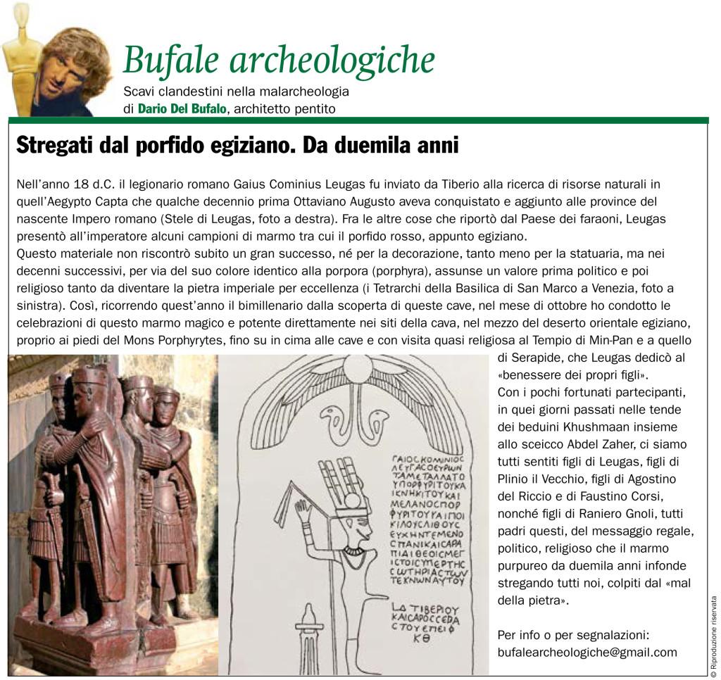2000_anni di Porfido Egiziano Dario Del Bufalo Giornale dell'Arte Bufale archeologiche Novembre 2018