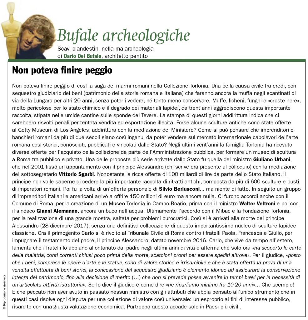 La saga della Collezione Torlonia Dario Del Bufalo Bufale Archeologiche Giornale dell'Arte 2018.11