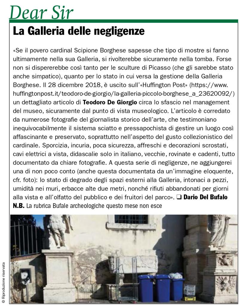 La Galleria delle negligenze dario Del Bufalo Giornale dell'Arte