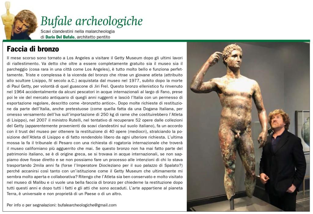 Faccia di bronzo Dario Del Bufalo Bufale Archeologiche Il Giornale dell'Arte n.395 marzo 2019