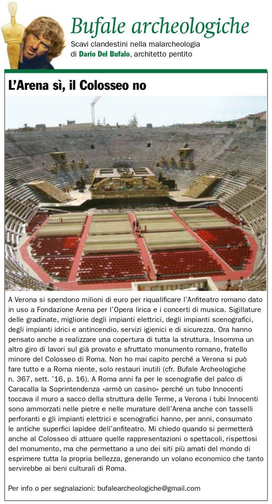 L'Arena sì il Colosseo no Bufale archeologiche Dario Del Bufalo Giornale dell'Arte maggio 2019