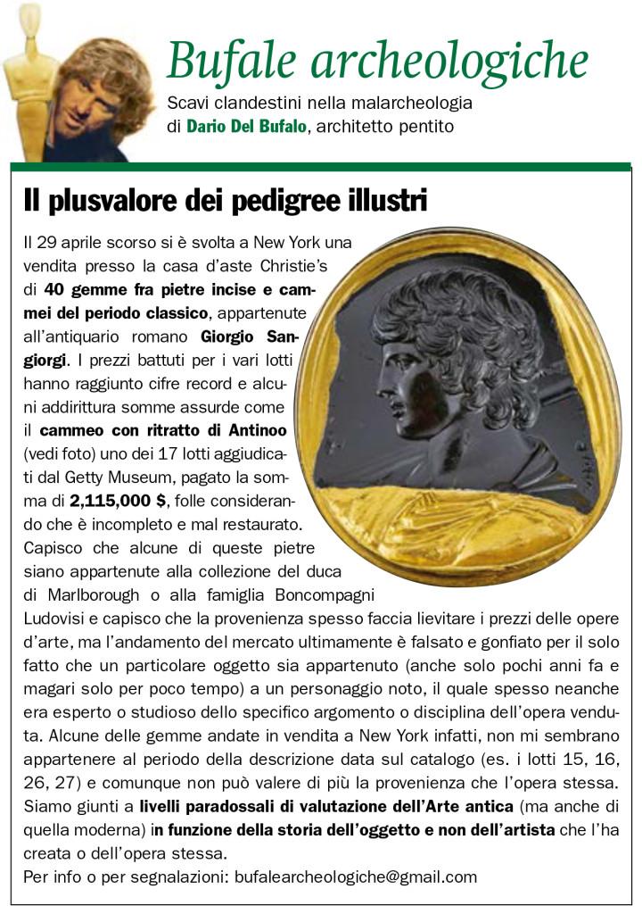 Il plusvalore dei pedigree illustri Dario Del Bufalo Bufale archeologiche Giugno 2019 IlGiornaledellarte
