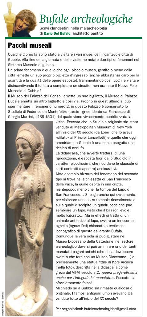 Pacchi museali Dario Del Bufalo Bufale archeologiche Giugno 2019 IlGiornaledellarte