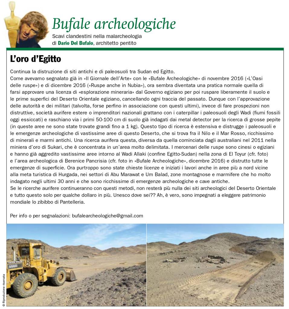 L'Oro d'Egitto Dario Del Bufalo Bufela Archeologiche Il Giornale dell'Arte settembre 2019
