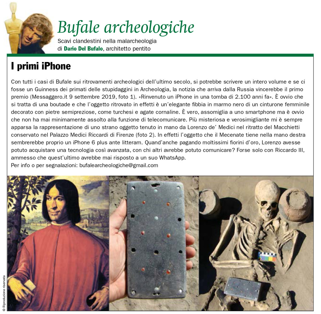Dario Del Bufalo I primi IPhone Bufale Archeologiche Il Giornale dell'Arte Ottobre 2019
