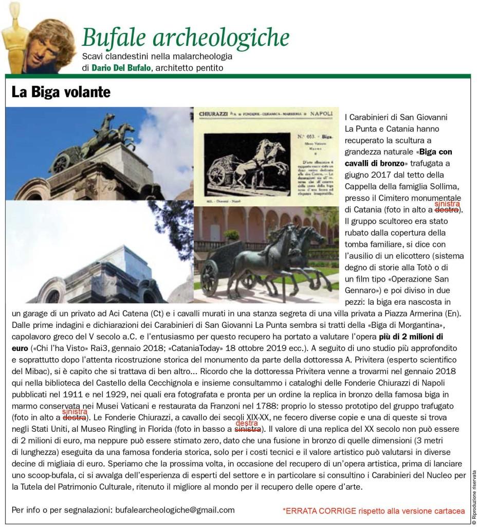 La Biga Volante Dario Del Bufalo Bufale Archeologiche Giornale dell'Arte Dicembre 2019