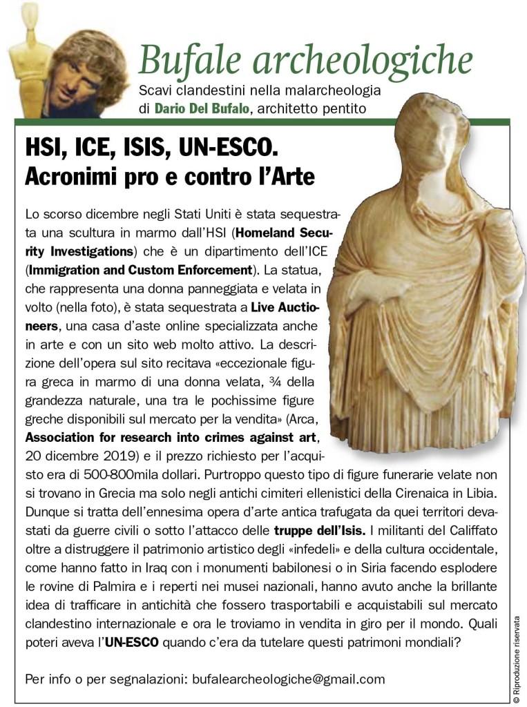 HSI, ICE, ISIS, UN-ESCO. Acronimi pro e contro l'Arte Dario Del Bufalo GdA Marzo 2020