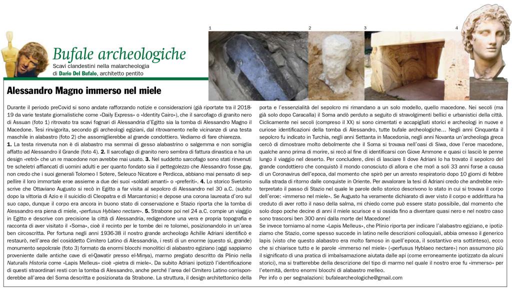 Alessandro Magno immerso nel miele Dario Del Bugalo Bufale Archeologiche GdA Luglio agosto 2020