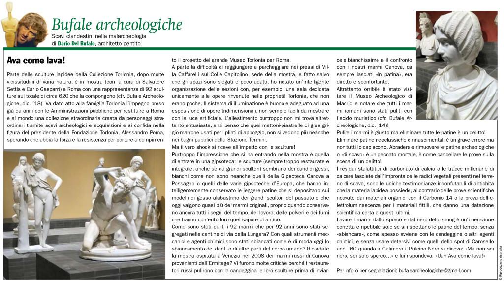 Dario Del Bufalo Ava come lava Bufale Archeologiche Giornale dell'Arte Novembre 2020