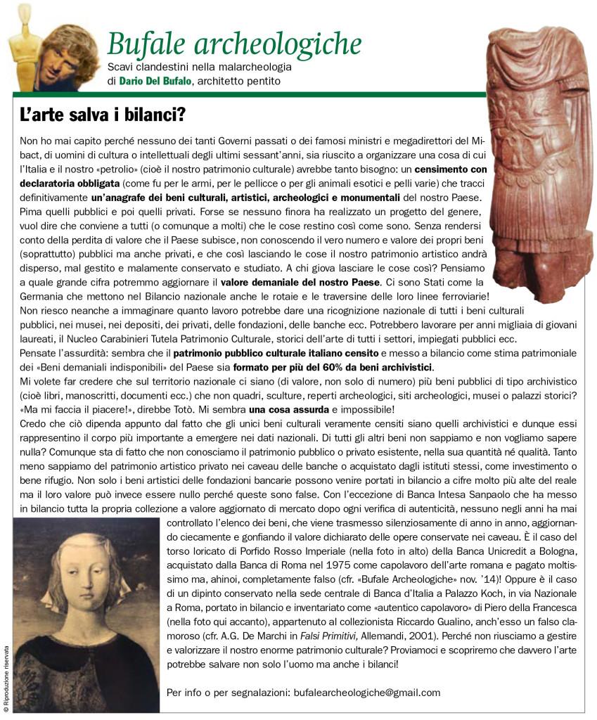 L'arte salva i Bilanci Dario Del Bufalo Bufale archeologiche Il Giornale dell'Arte n.414 febb 2021