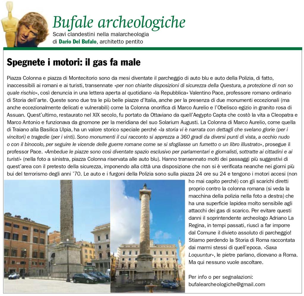 Spegnete i motori il gas fa male Dario Del Bufalo Bufale Archeologiche Il Giornale dell'Arte marzo 2021